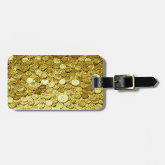 gold coins luggage tag