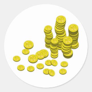 Gold Coins Round Sticker