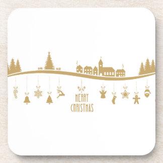 Gold color Elegant Merry Christmas Decoration Drink Coaster