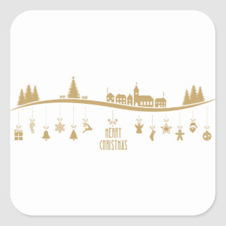 Gold color Elegant Merry Christmas Decoration Square Sticker