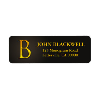 Gold Color Monogram B Return Address Labels