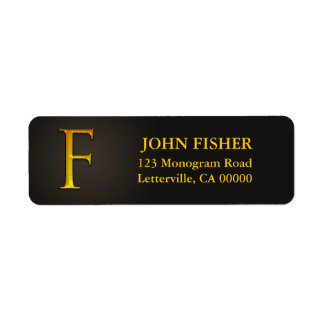 Gold Color Monogram F Return Address Labels