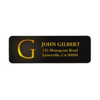 Gold Color Monogram G Return Address Labels