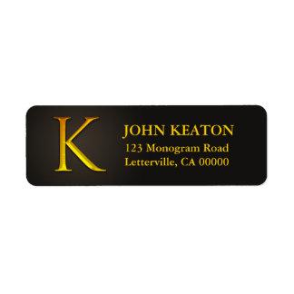 Gold Color Monogram K Return Address Labels