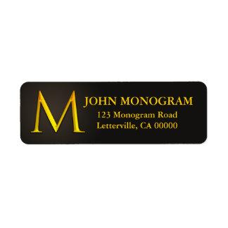 Gold Color Monogram M Return Address Labels