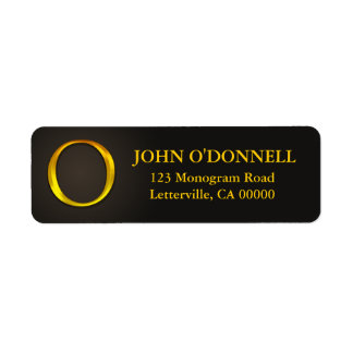 Gold Color Monogram O Return Address Labels