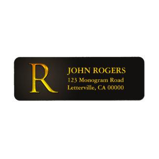 Gold Color Monogram R Return Address Labels