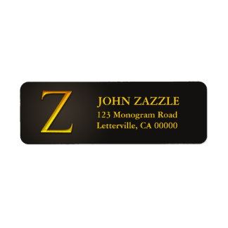 Gold Color Monogram Z Return Address Labels