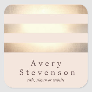 Gold Colored Striped Modern Light Pink Chic Square Sticker