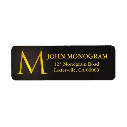 Gold Colour Monogram M Return Address Labels