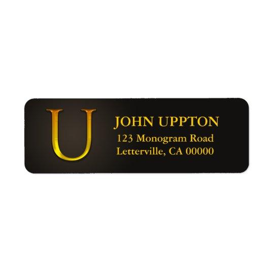 Gold Colour Monogram U Return Address Labels