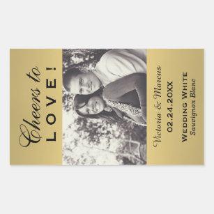 Gold Coloured Wedding Photo Wine Bottle Favour Rectangular Sticker
