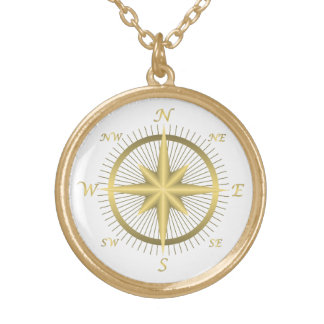 Gold Compass Gold Plated Necklace