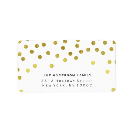 Gold Confetti Address Label Zazzle
