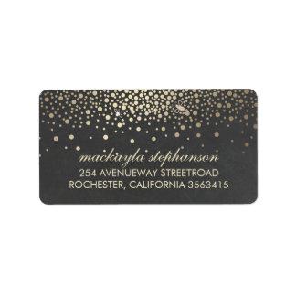 Gold Confetti and Fireflies Chalkboard Wedding Label