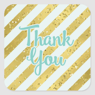 Gold Confetti and Foil with Teal Stripe Thank You Square Sticker