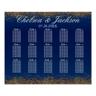 Gold Confetti and Navy Blue - Seating Chart Poster