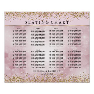 Gold Confetti and Pink Bokeh - 10 Seating Chart