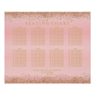 Gold Confetti and Pink Satin - Seating Chart Poster