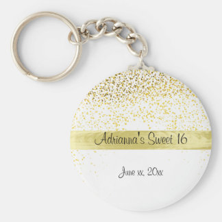 Gold Confetti and Satin, Sweet Sixteen, Custom Key Ring