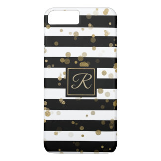 Gold Confetti and Stripes iPhone 8 Plus Case