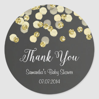 Gold Confetti Baby Shower Sticker