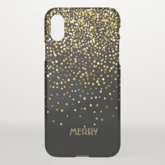 Gold Confetti Black Background iPhone X Case