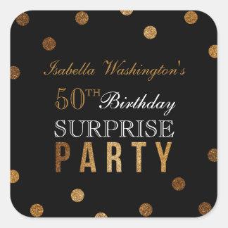 Gold Confetti & Black Surprise Birthday Party Square Sticker