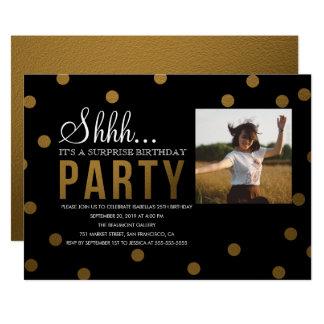 Gold Confetti & Black Surprise Party Card