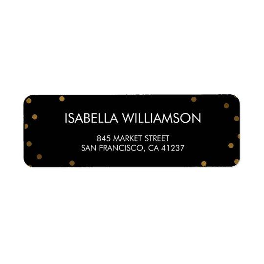 Gold Confetti & Black Surprise Party Return Address Label