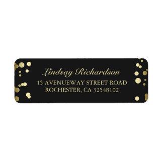 Gold Confetti Black Wedding Return Address Label