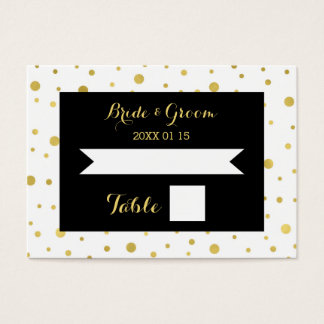 Gold Confetti Black Wedding Table Place Card