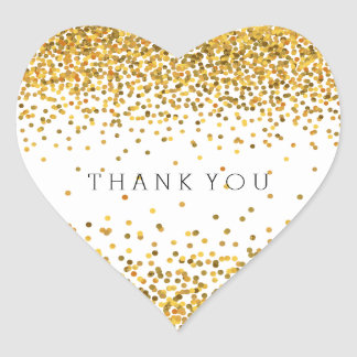 Gold Confetti Bling Thank You Heart Sticker