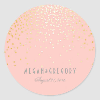 Gold Confetti Blush Pink Wedding Classic Round Sticker