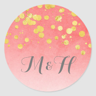 Gold Confetti  Blush Pink Wedding Round Sticker