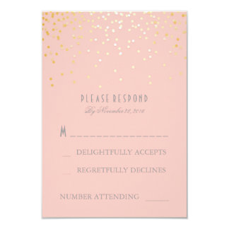 Gold Confetti Blush Pink Wedding RSVP Cards