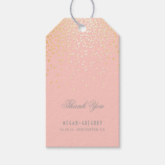 Gold Confetti Blush Pink Wedding Thank You