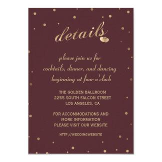Gold Confetti Burgundy Wedding Details Reception Card