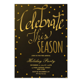 Gold Confetti Celebrate This Season Holiday Party 13 Cm X 18 Cm Invitation Card