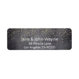 Gold Confetti Chalkboard Wedding Return Address Return Address Label