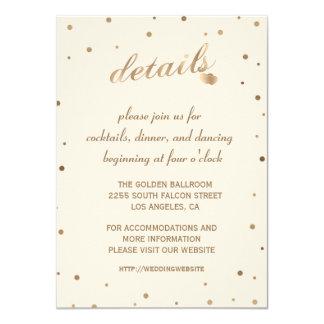 Gold Confetti Champagne Wedding Details Reception Card