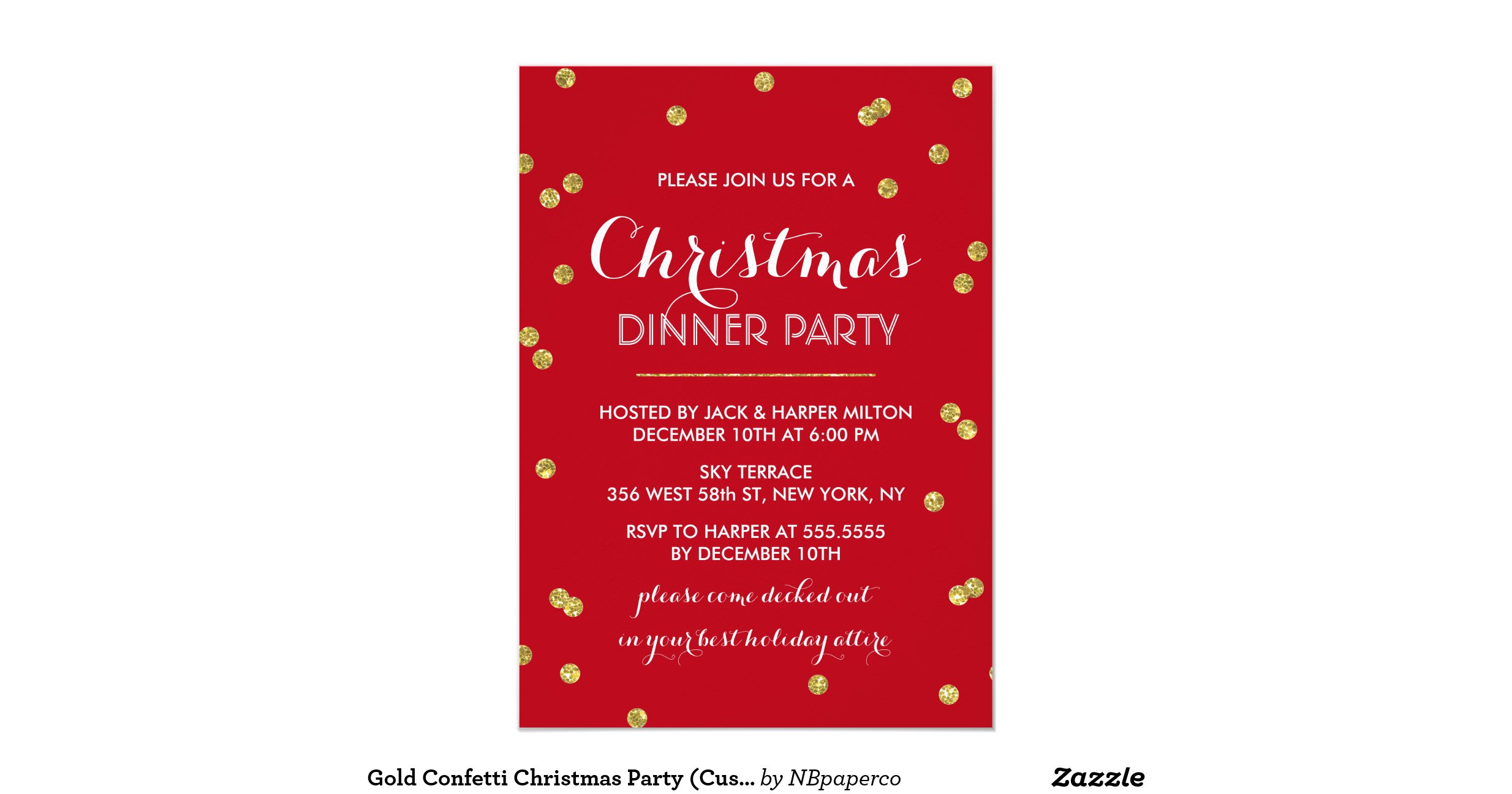 Snap Gold Star Confetti Christmas Party Invitation Zazzle photos on ...