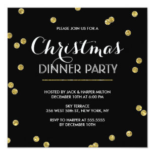 Christmas invitations announcements zazzle gold confetti christmas party custom colour invitation stopboris Image collections