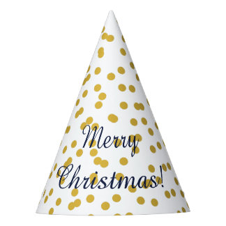 Gold Confetti Christmas Pattern with Blue Party Hat
