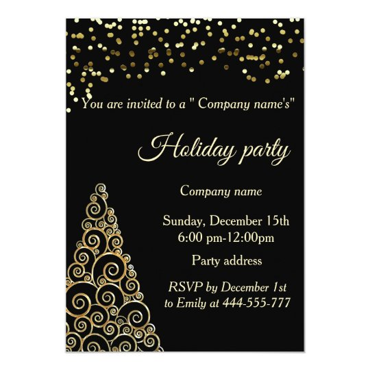 Gold confetti Christmas tree company holiday party Card