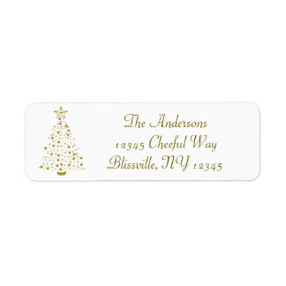 Gold Confetti Christmas Tree Return Address Label