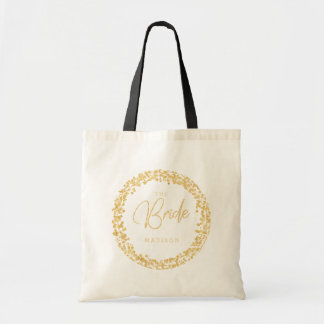 Gold Confetti Circle Frame Wedding The Bride Tote Bag