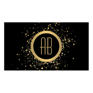 Gold Confetti Circle Monogram Black Business Card