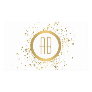 Gold Confetti Circle Monogram White Business Card