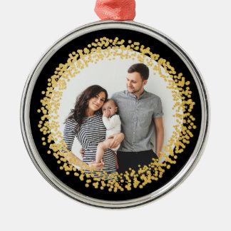 Gold confetti circle photo ornament faux foil